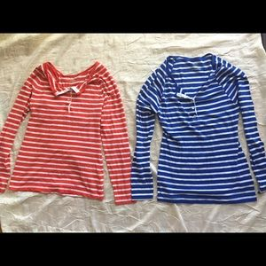 Tops - Lot of 2 old navy orange blue stripes button tops